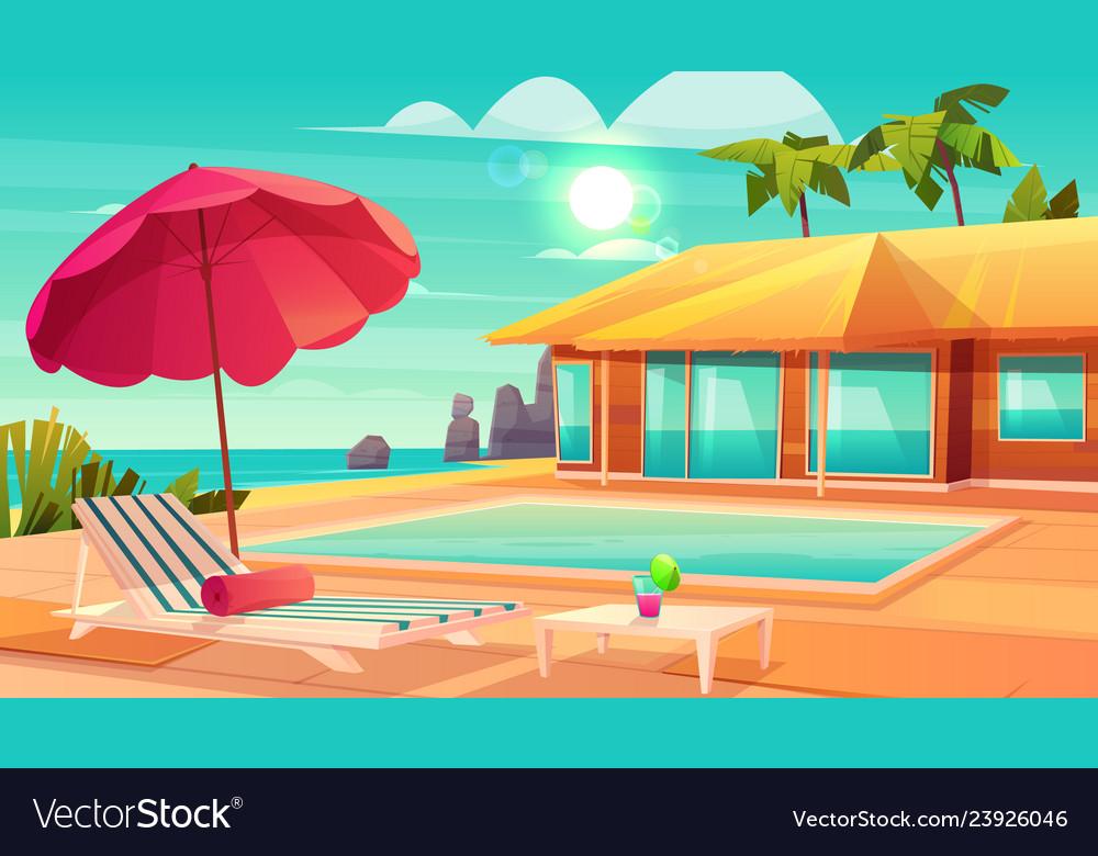 Summer leisure on tropical resort cartoon