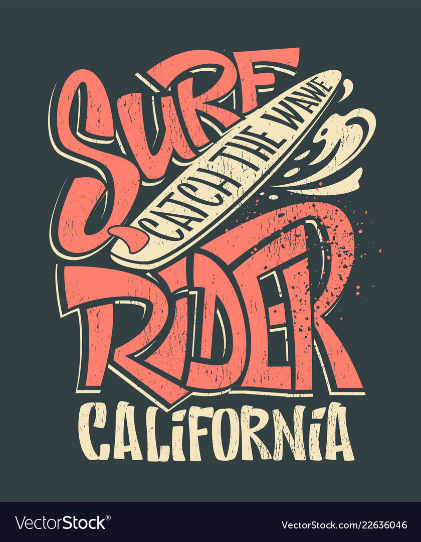 Surf rider print t-shirt graphic design