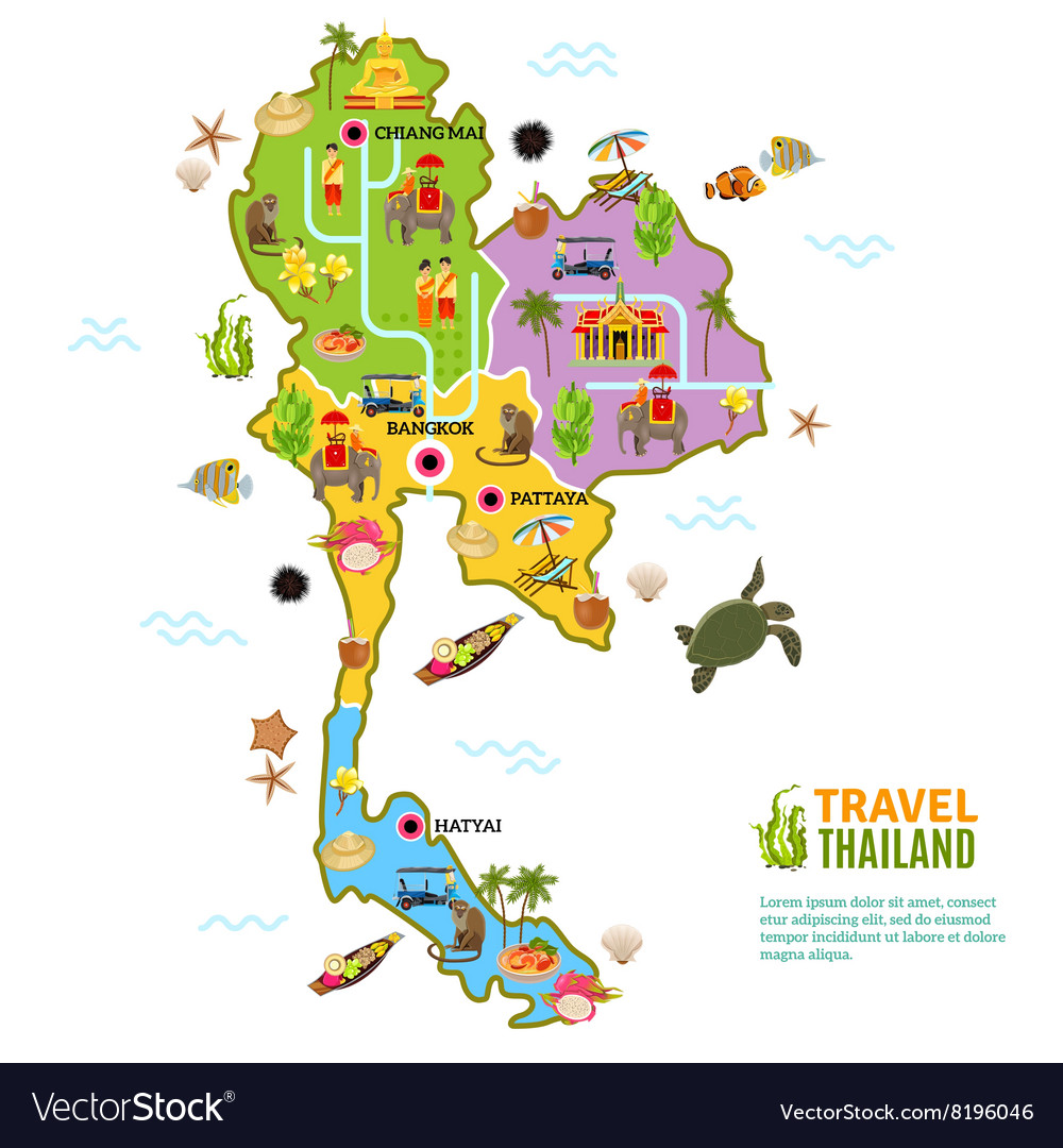 Thailand Map Poster Royalty Free Vector Image - VectorStock