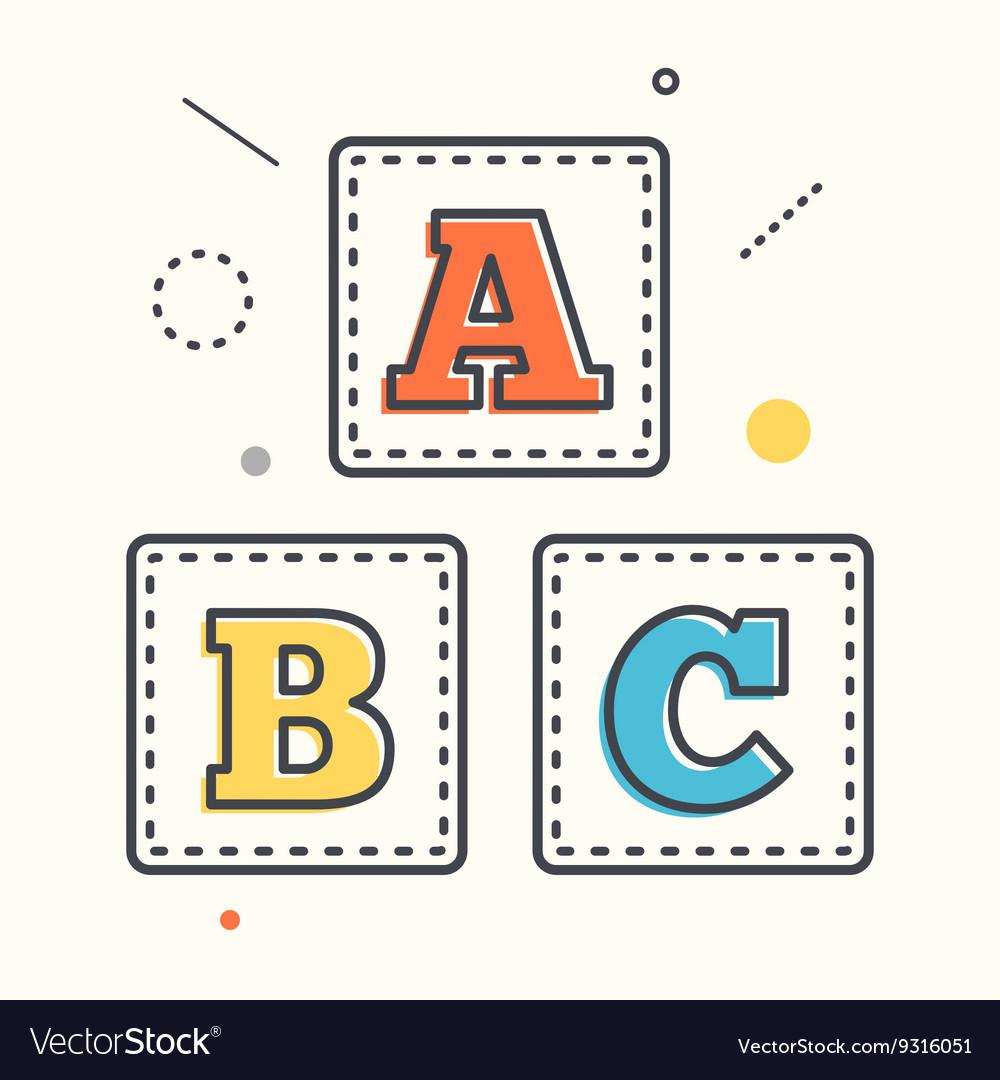 Abc blocks flat icon with long shadow alphabet