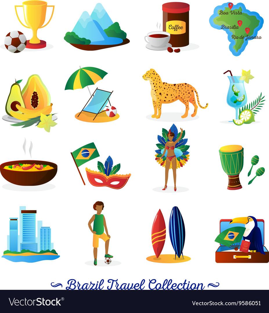 Brazilian Culture Symbols Flat Icons Set Vector Image