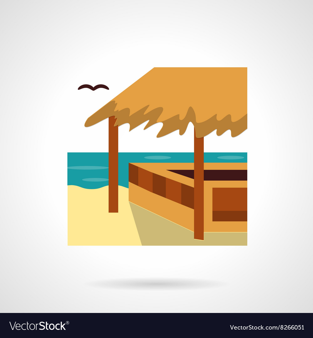 Bungalow bar flat color design icon vector image