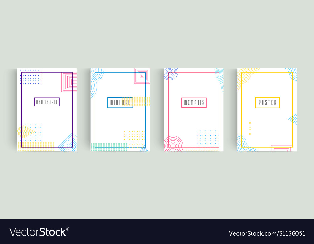Colorful abstract minimalistic style posters set