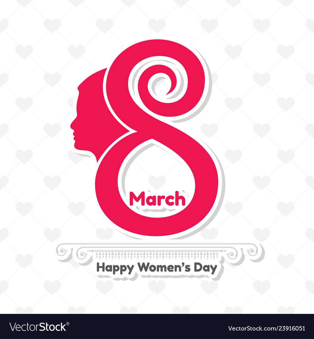 Happy womens day greeting card postcard on march 8