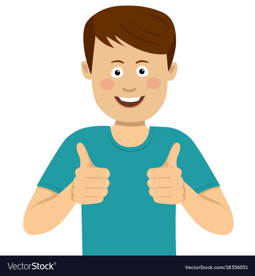 Happy young man with thumbs up Royalty Free Vector Image