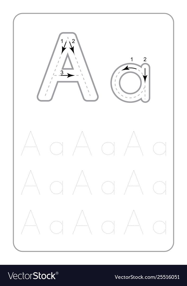 Kindergarten Tracing Letters Worksheets Monochrom Vector Image