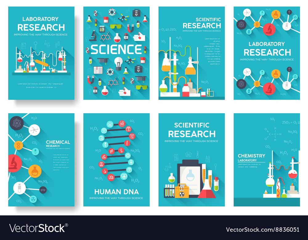 Science information cards set laboratory template Vector Image