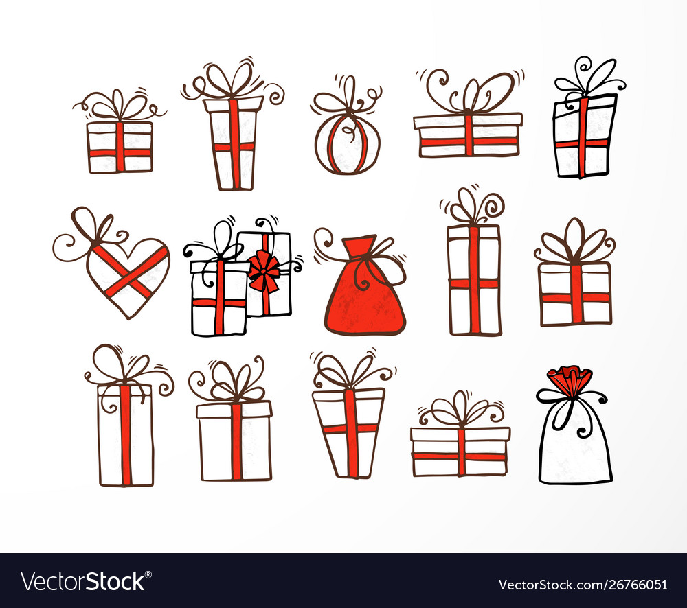 Set doodle sketch gift boxes with red ribbond