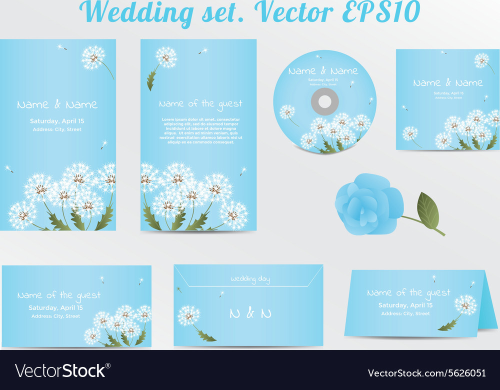 Set Of Floral Wedding Invitation Template With