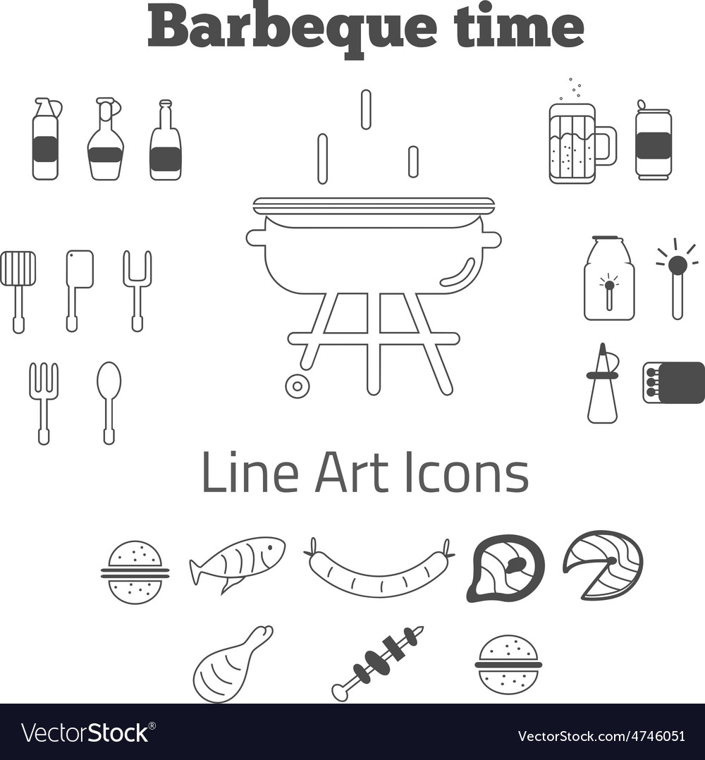 Set of line art barbeque icons in minimal