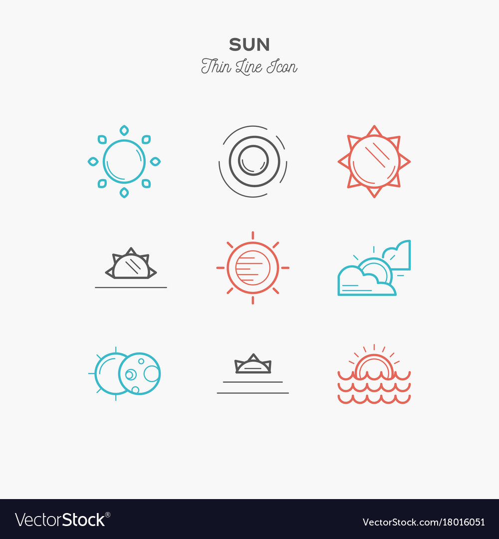 Sun sunrise sunset solar eclipse and more thin vector image