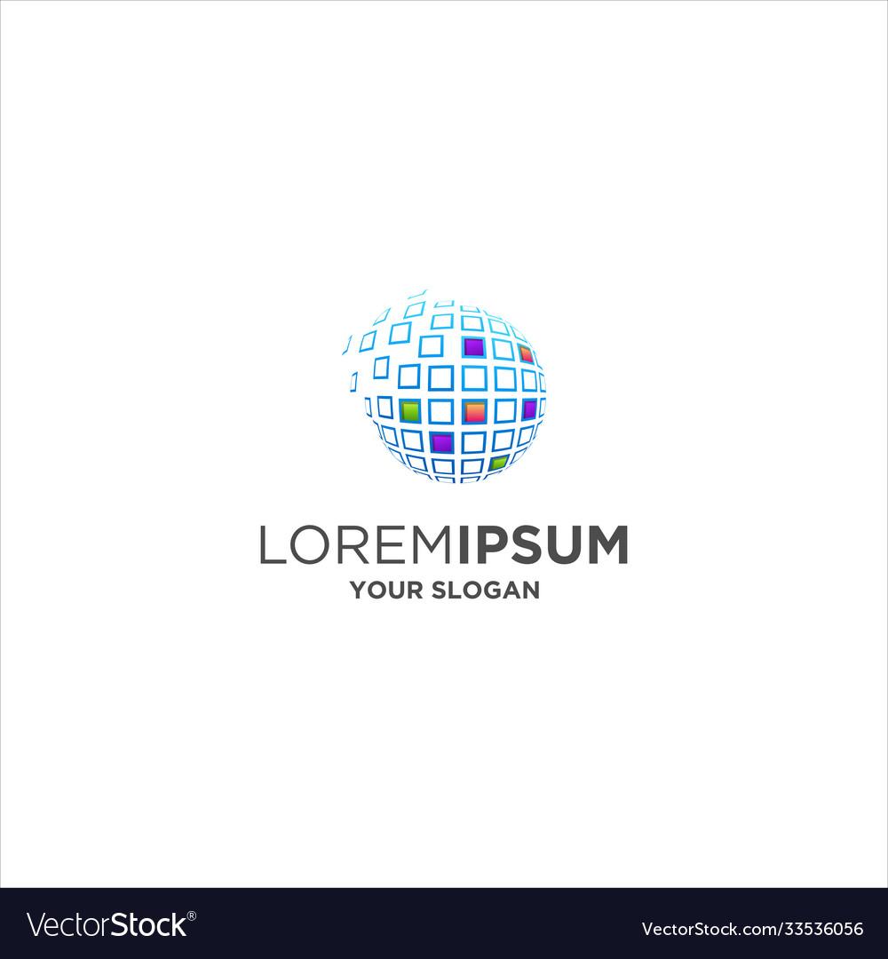 Abstract global digital logo