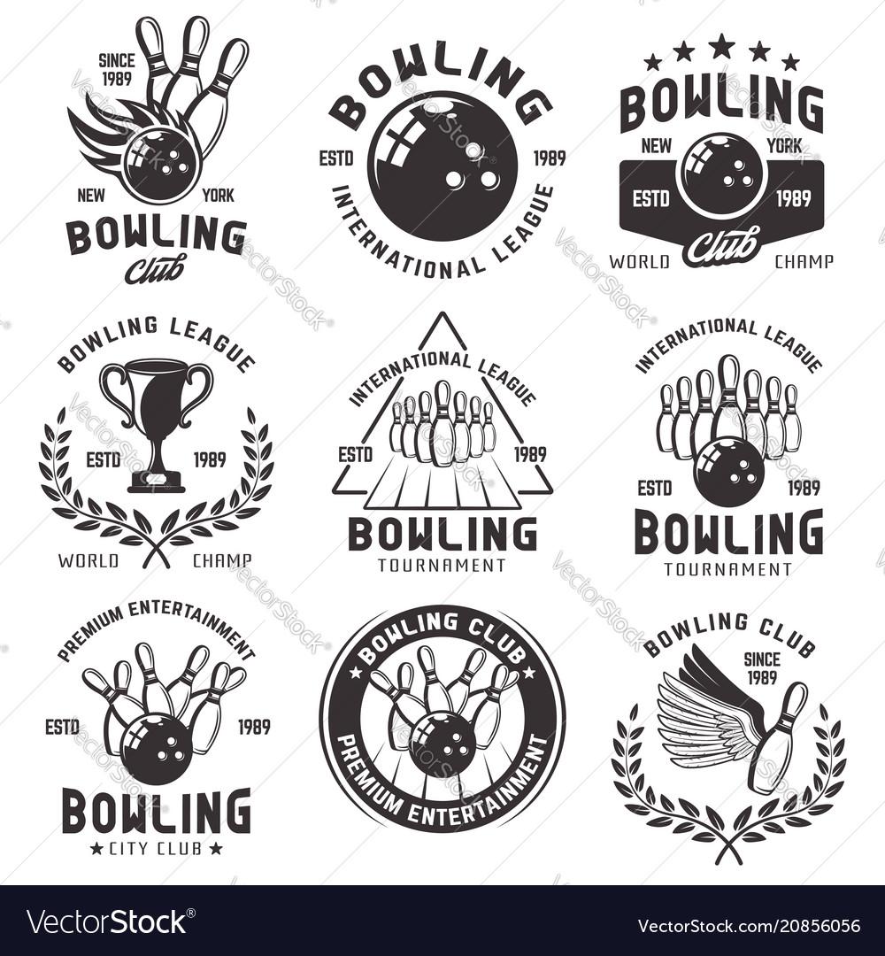 Bowling set of emblems badges and labels
