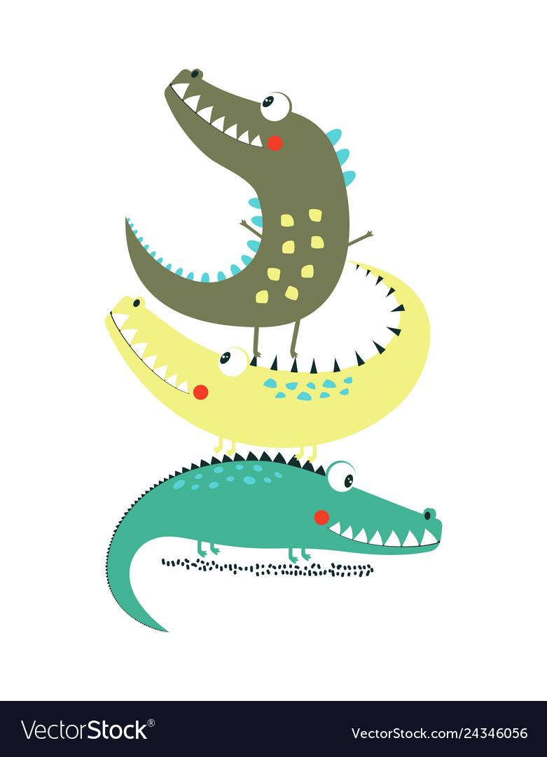 Cartoon crocodile print