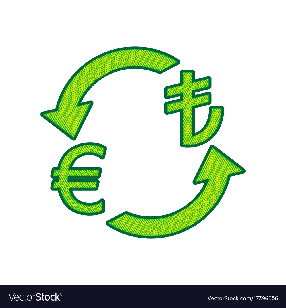 Currency exchange sign euro and turkey lira