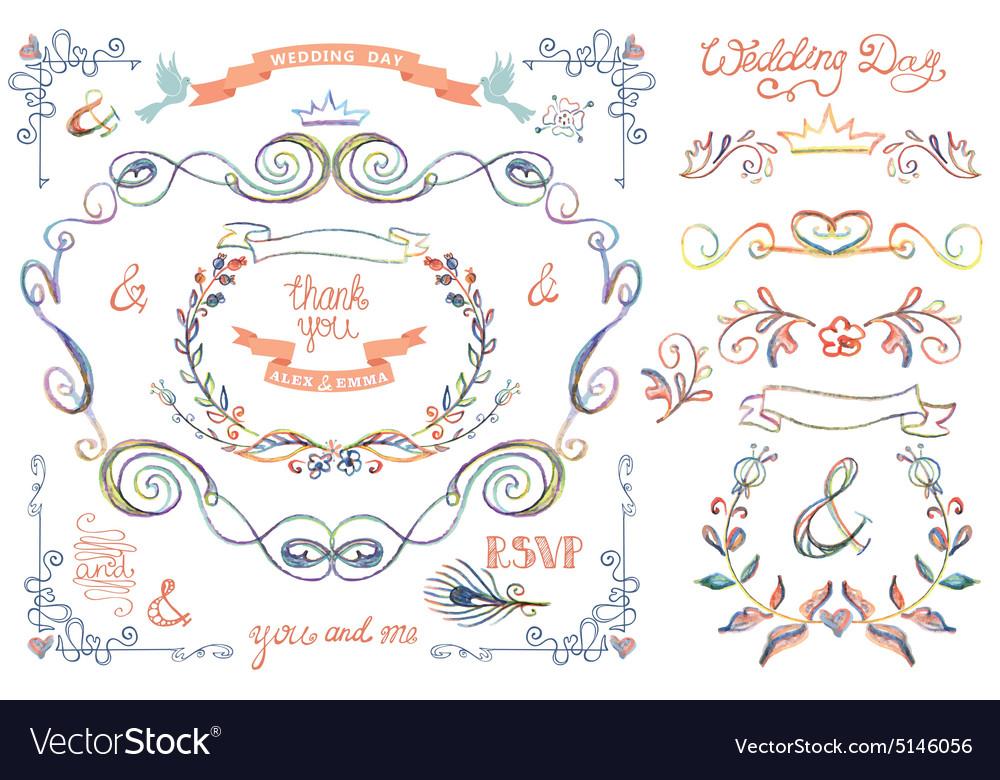 Cute wedding template setFloral Decor elements