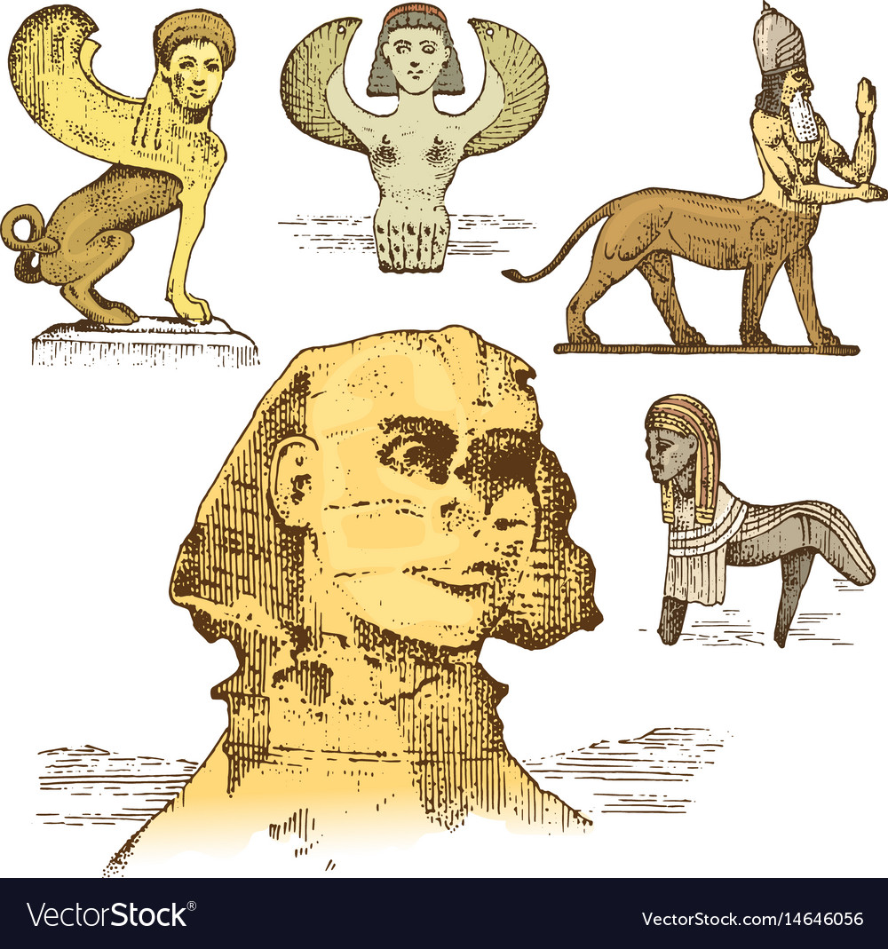 Egyptian sphinx and other fantastic creatures