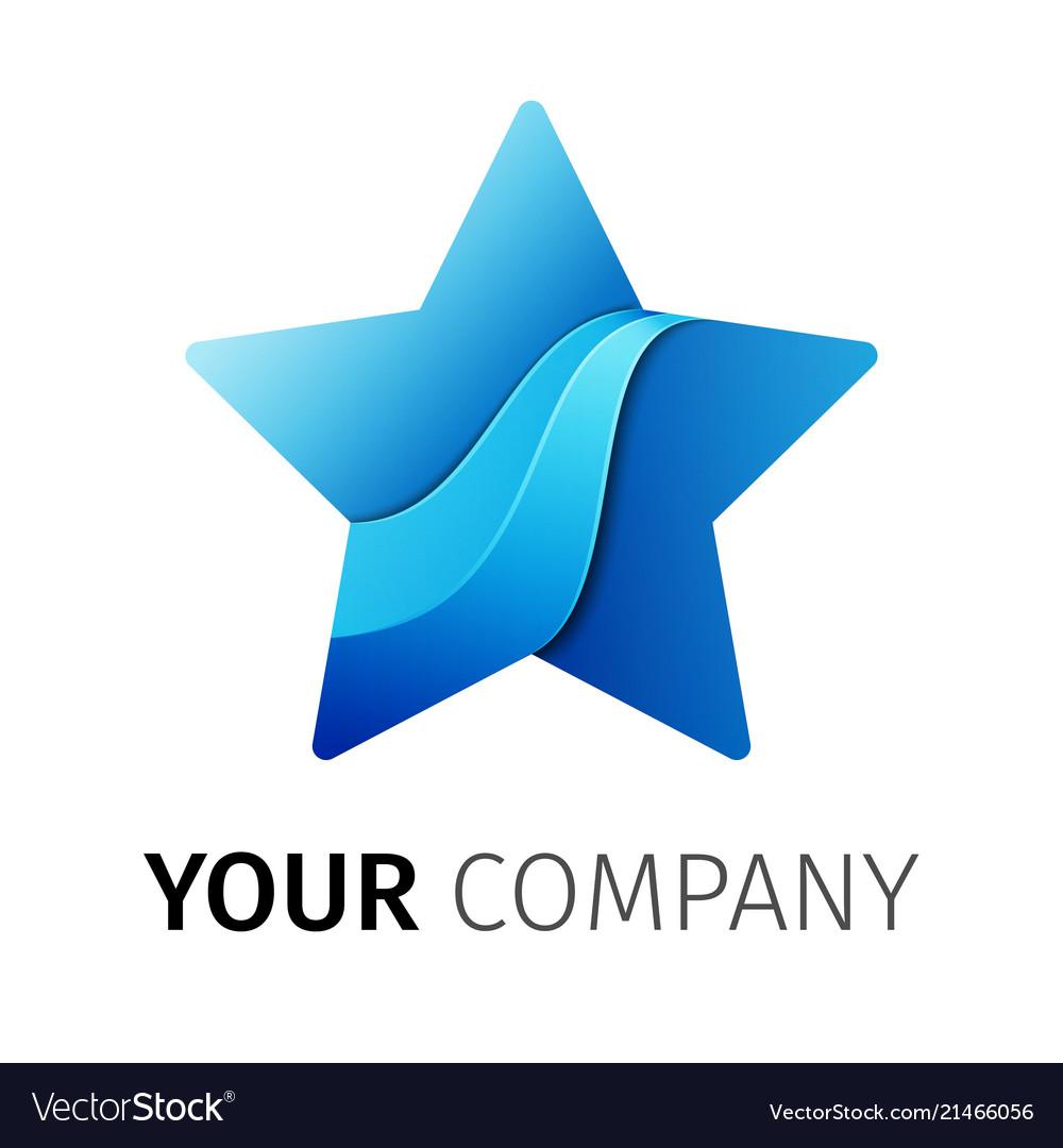 Five point star logo design ribbon