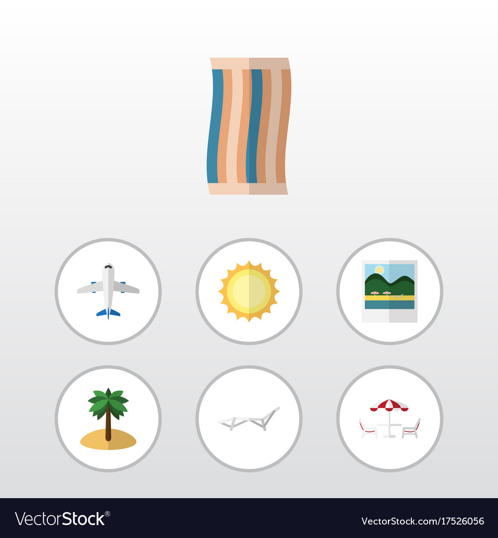 Flat icon summer set of deck chair reminders