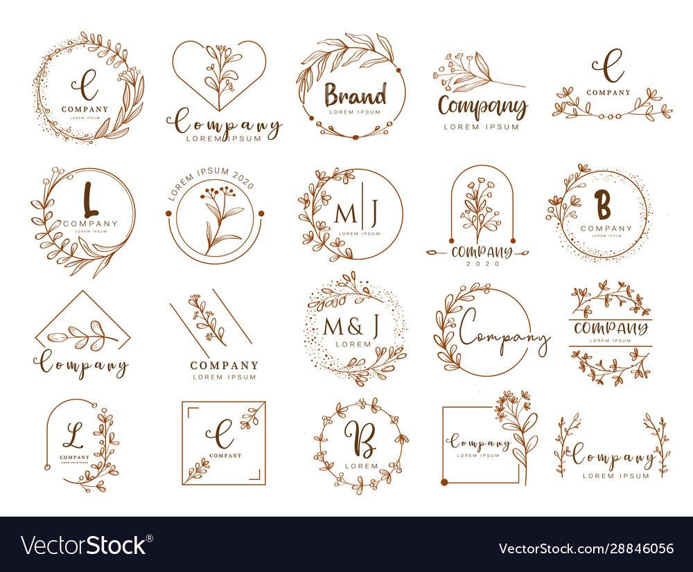 Floral border and logo design templates han