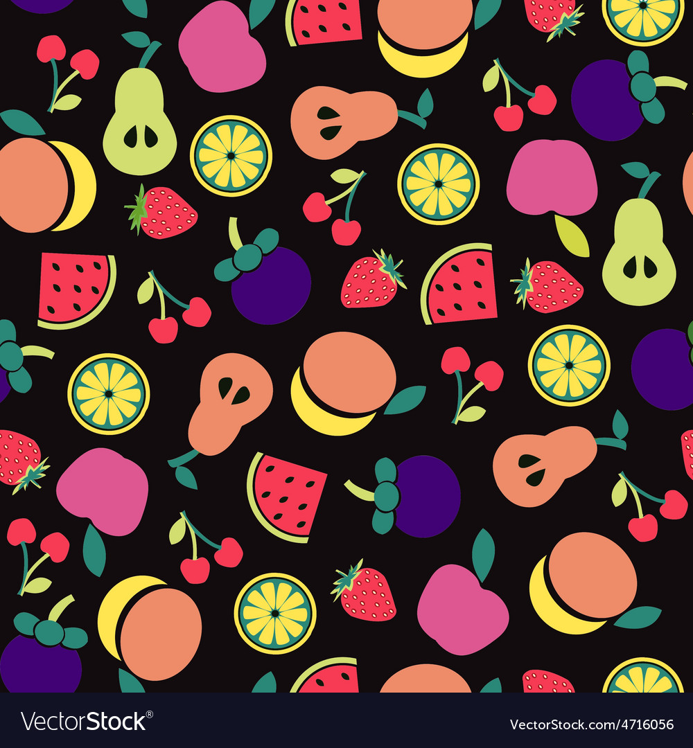 Fruit pattern on Black background
