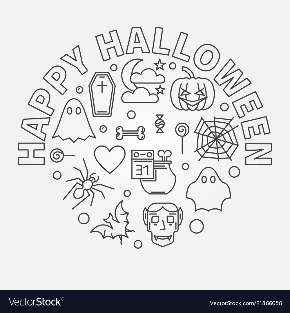 Happy halloween round holiday outline
