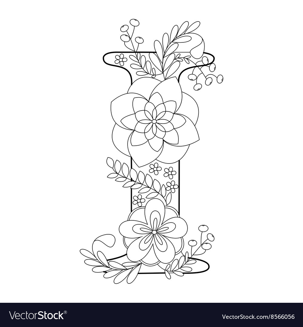 Letter I coloring book for adults