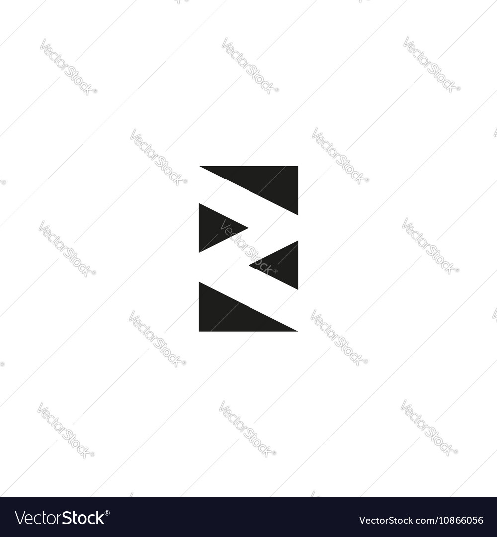 Letter Z Logo Black And White Graphic Geometric Vector Image