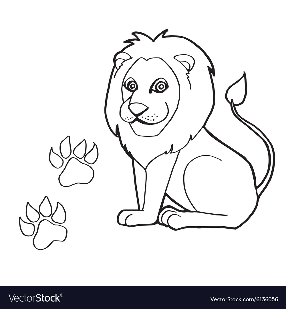 Paw print with Lions Coloring Pages Royalty Free Vector