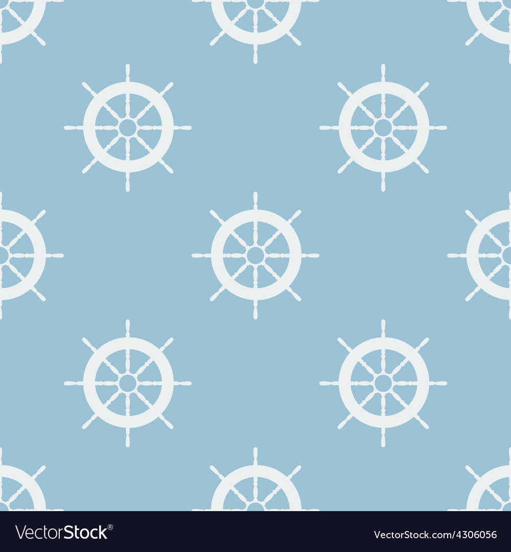 Seamless pattern with helm of ship