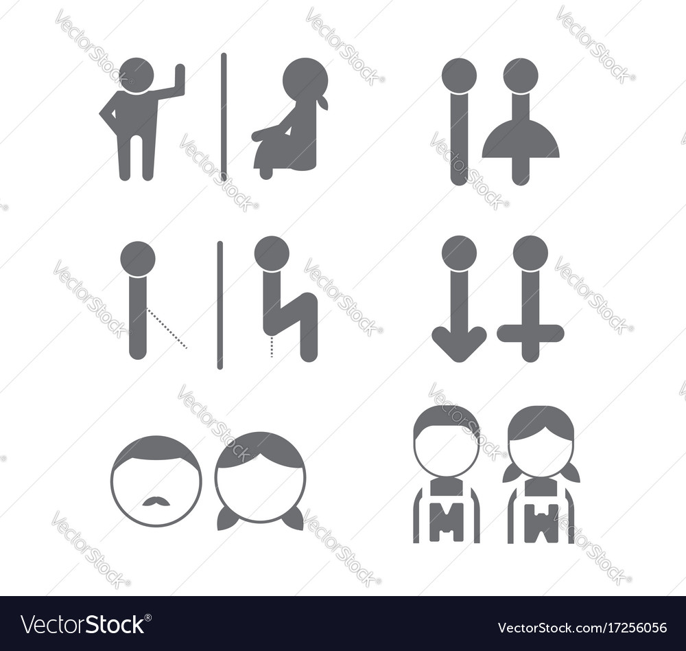 Set of wc toilet bathroom icon symbol