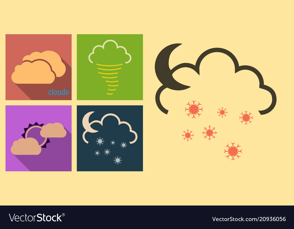 Set of weather icons in flat style with shadow