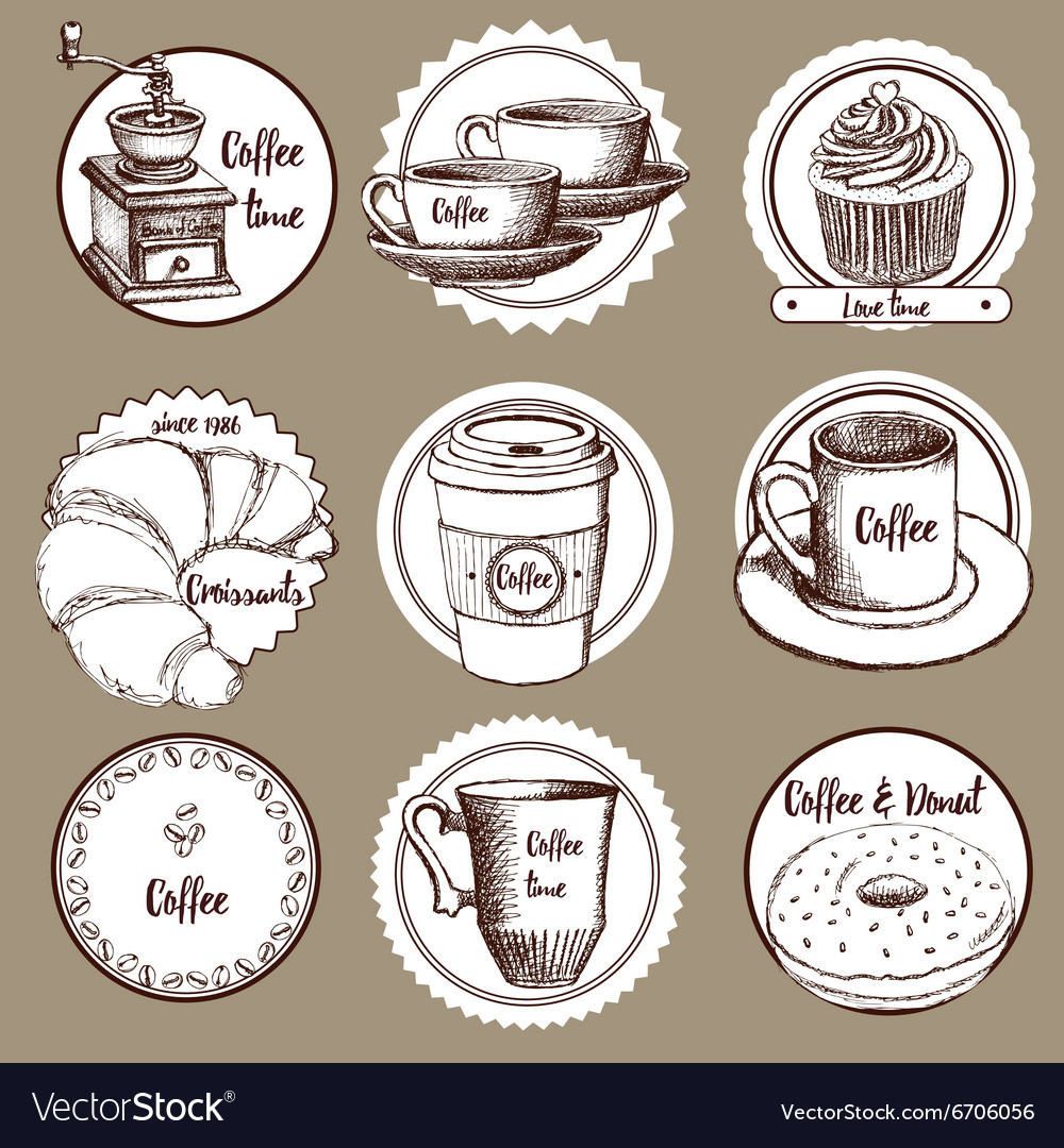 Sketch coffee labels vector image