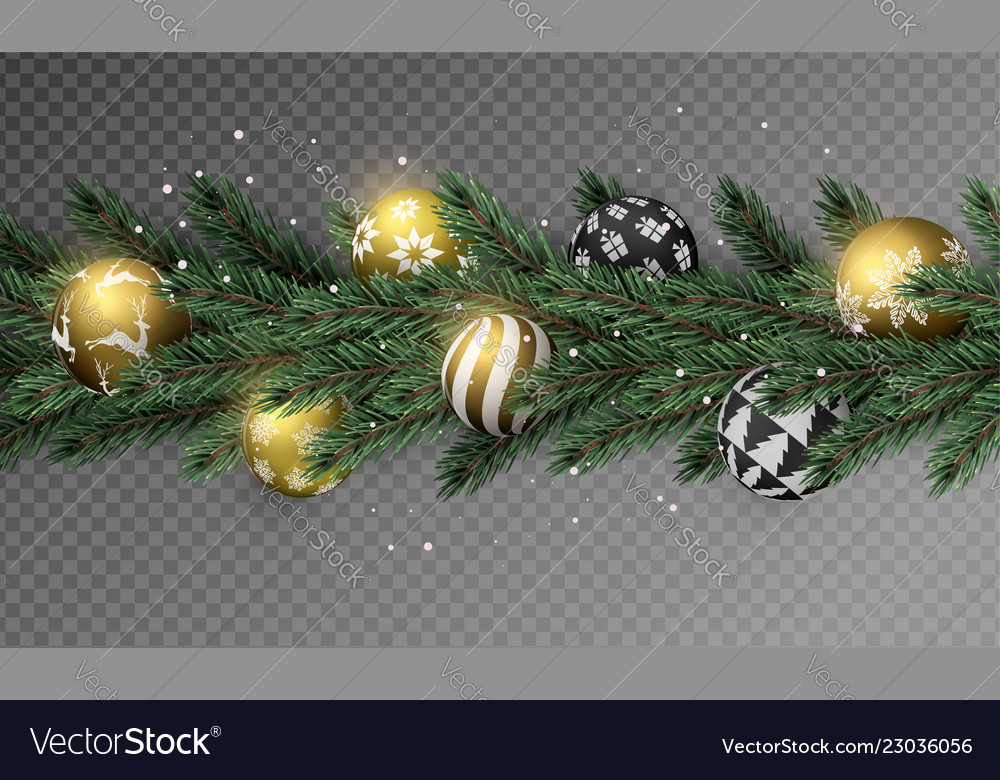 Transparent Christmas Garland With Gold Ornaments