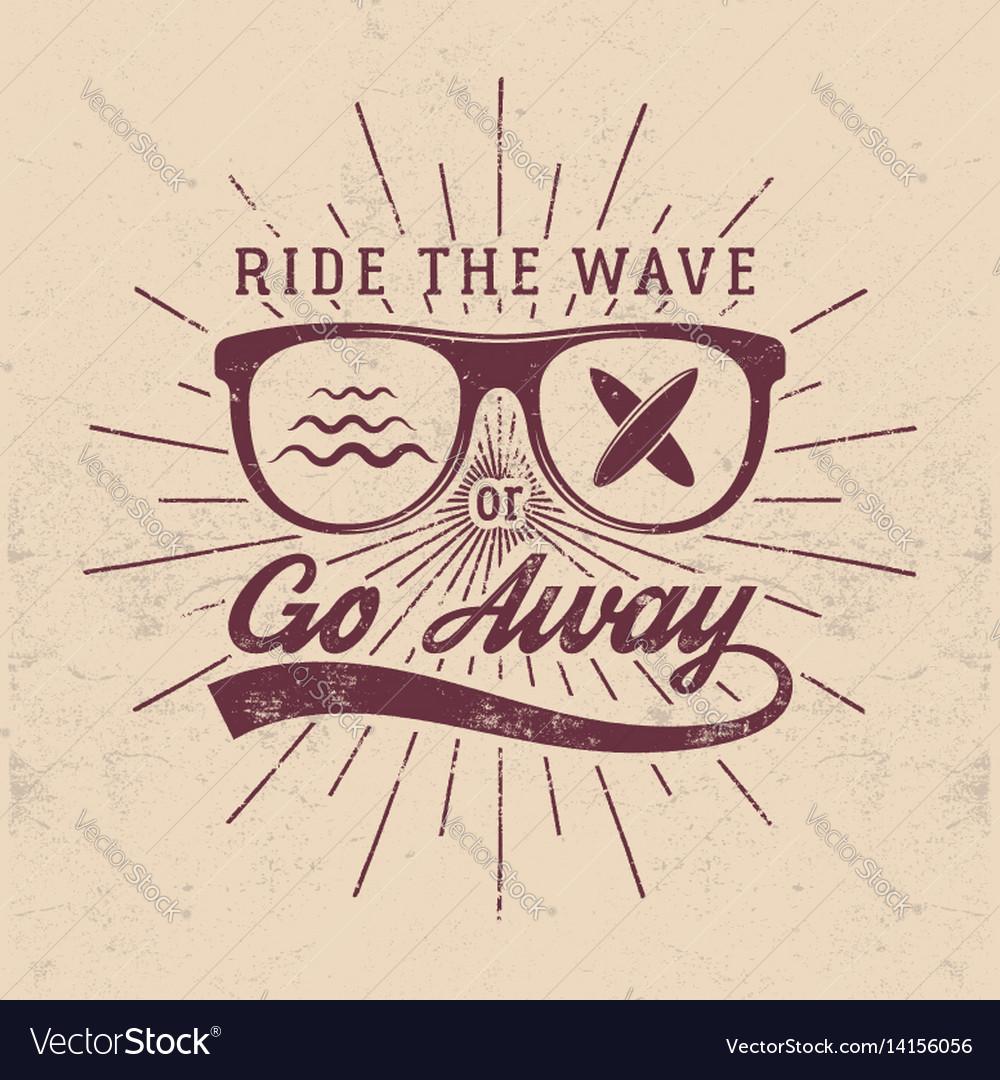 Vintage surfing graphics and emblem for web design vector image