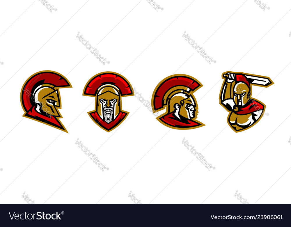 A collection of colorful logos a spartan s head