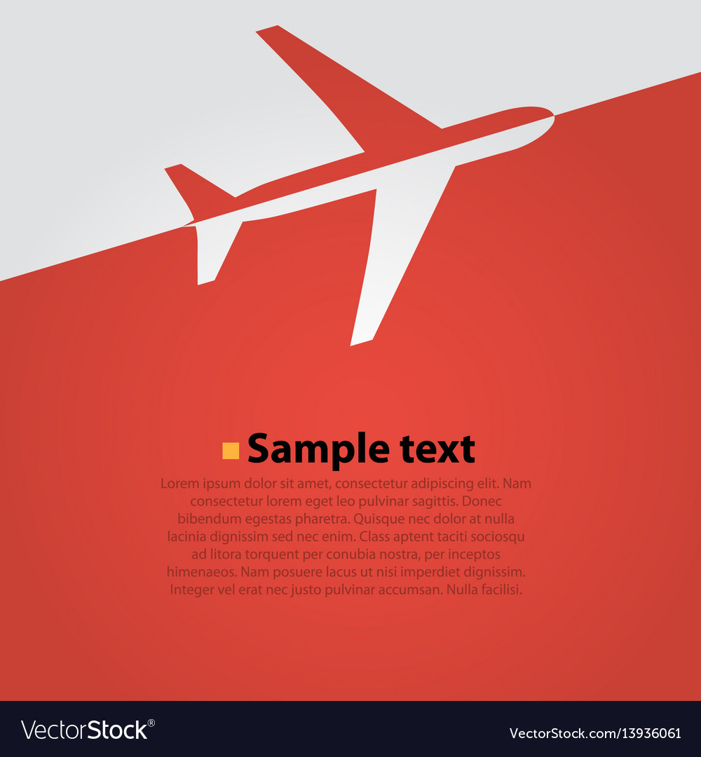 Airplane flight red background vector image