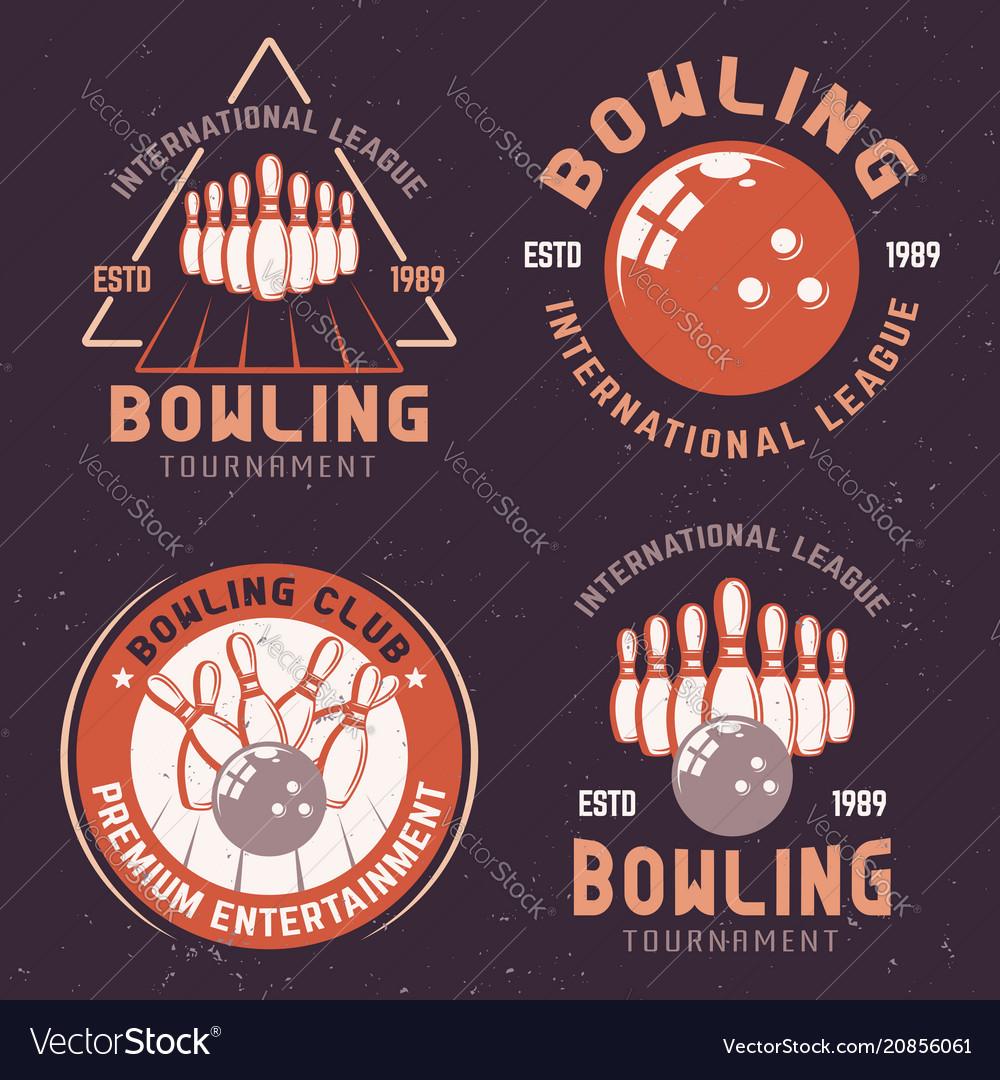 Bowling tournament colored emblems