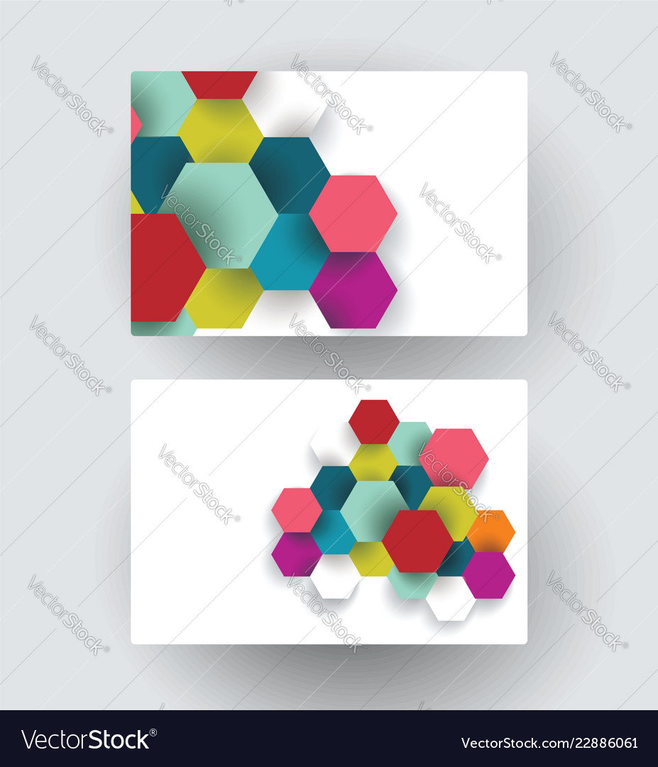 Business card design with paper hexagons