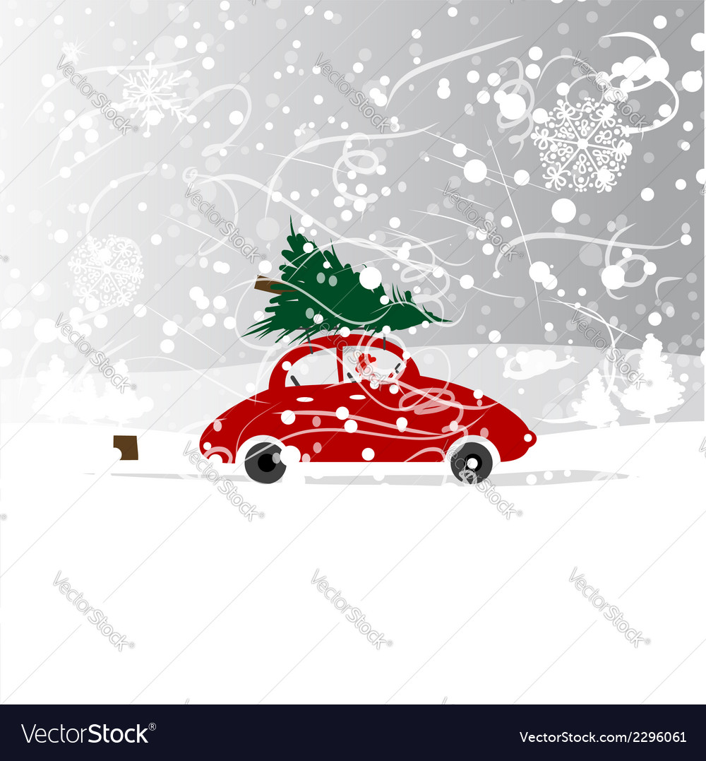 Car Christmas Tree.Car With Christmas Tree Winter Blizzard For Your