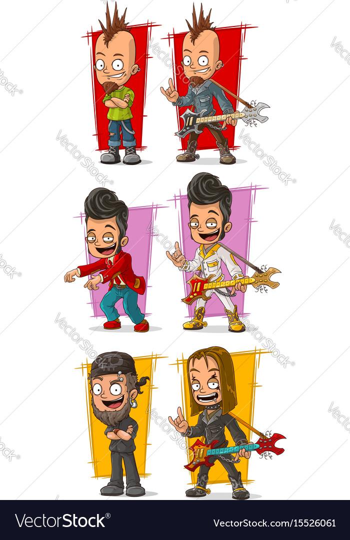 Cartoon rock musicians with guitar character set