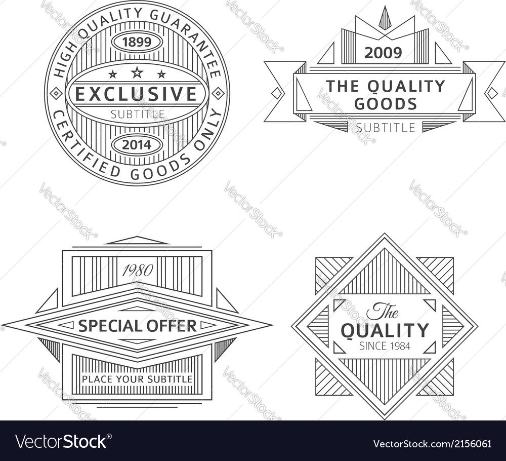 Collection of retro outline vintage style labels