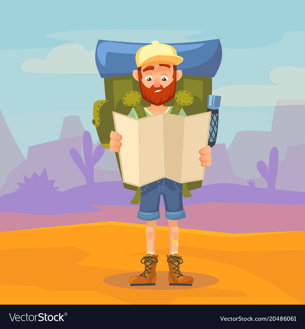 Cute tourist male character holding a map hiking vector image