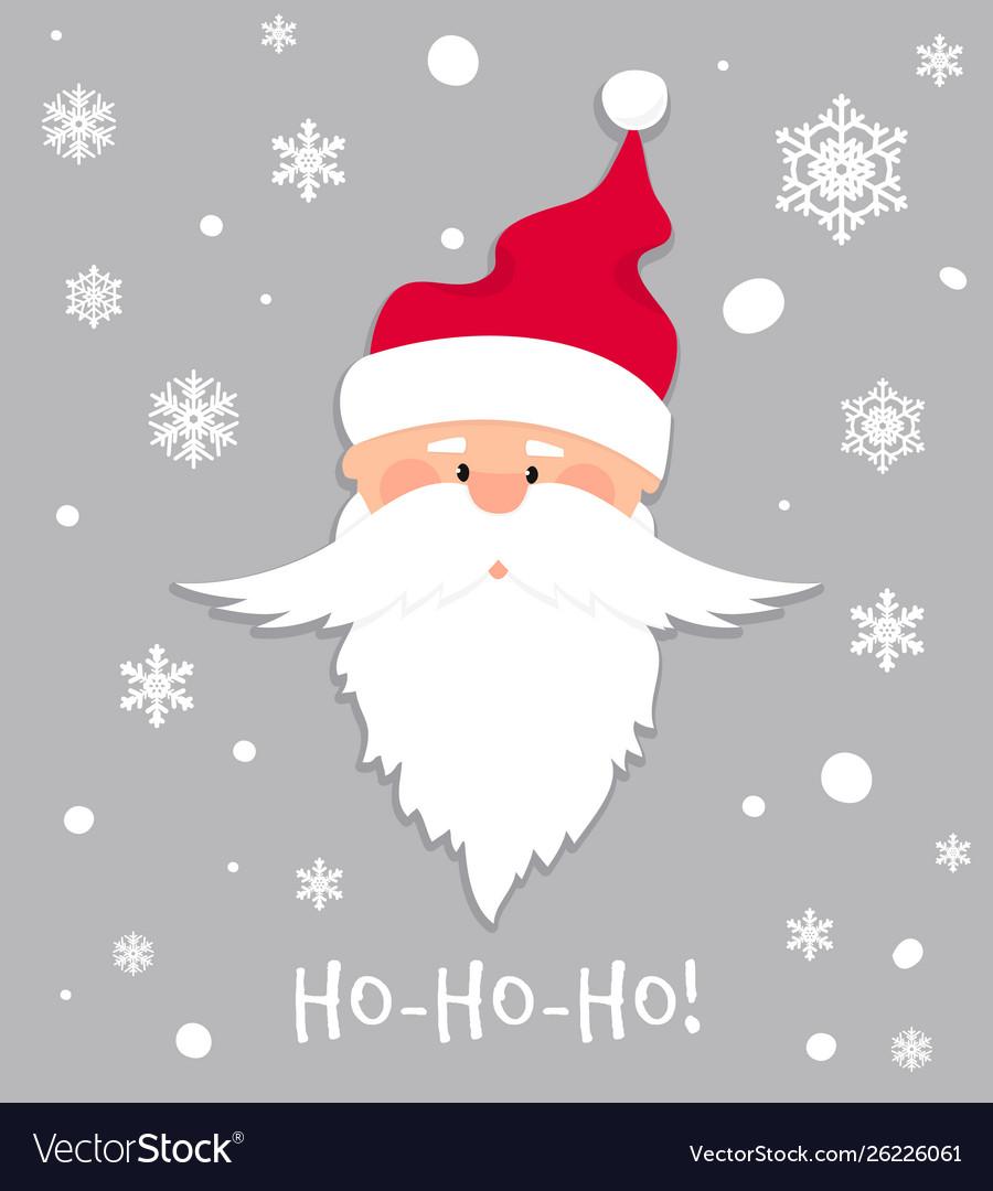Ho-ho-ho christmas banner santa claus in red hat