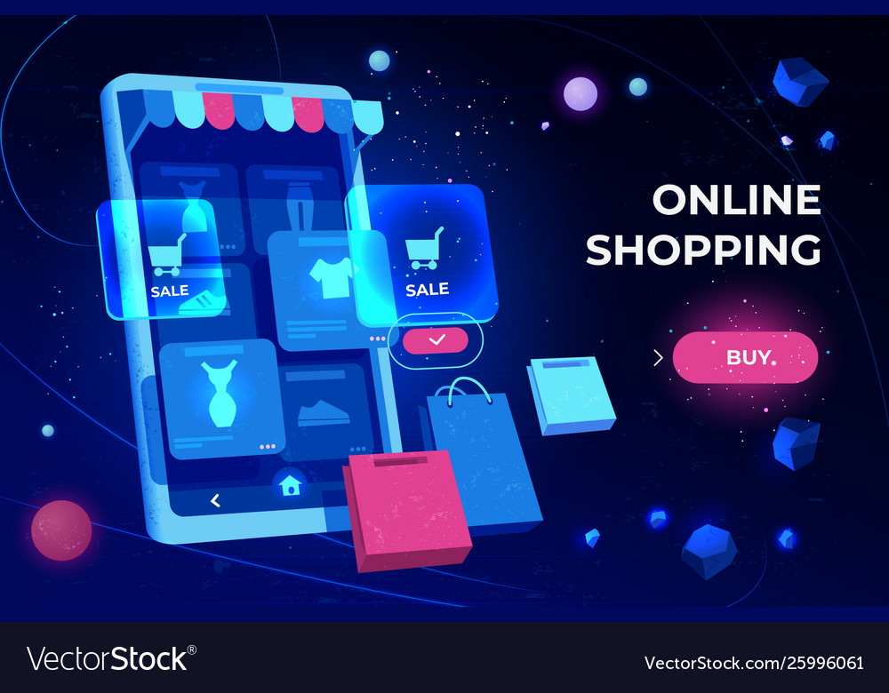 Online shopping landing page smartphone screen