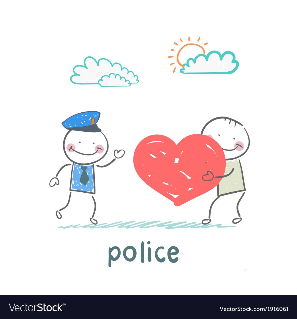 Police listen to a man in love vector image