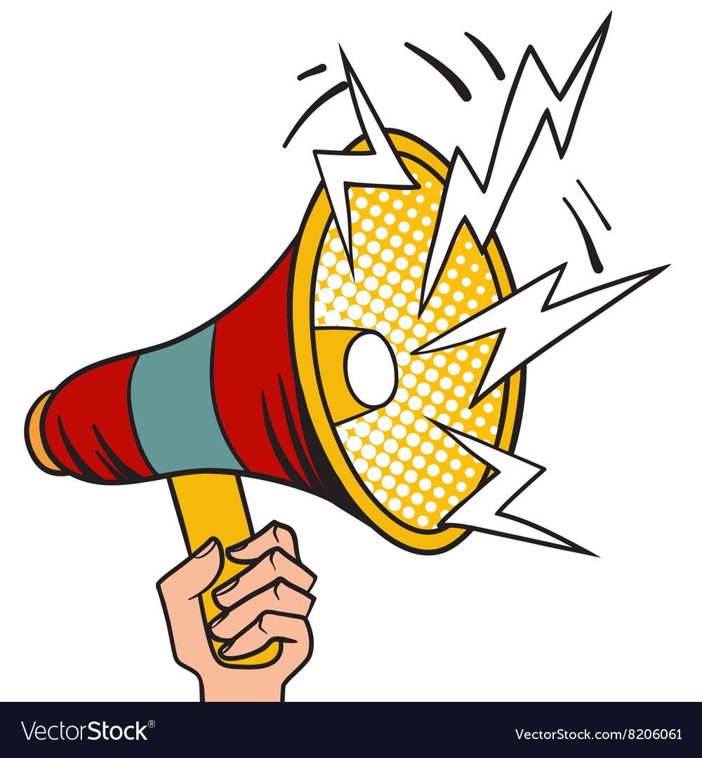 pop art megaphone design loudspeaker cartoon vector image rh vectorstock com cartoon megaphone cheer megaphone cartoon gif