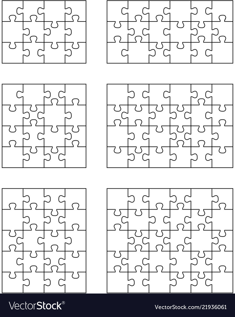 Six different white puzzles