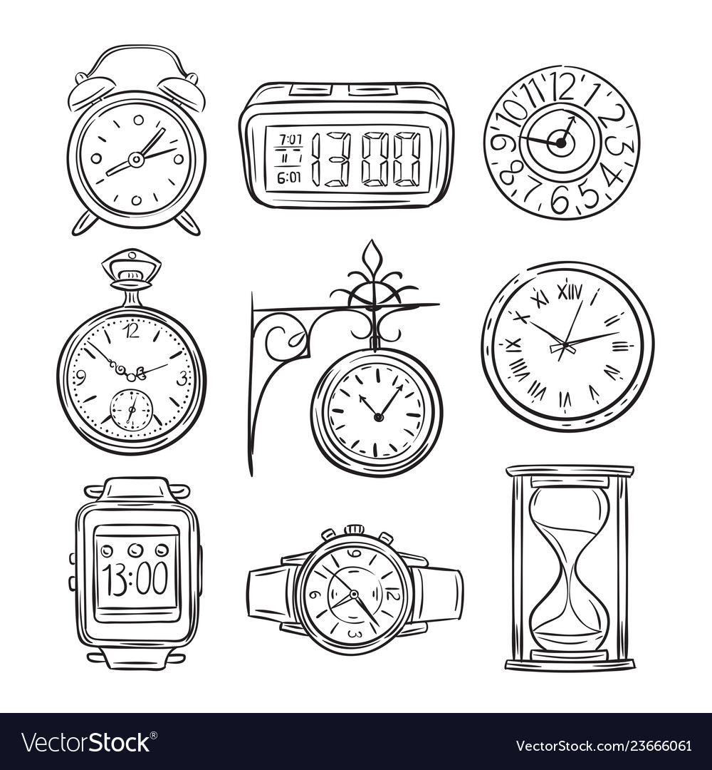 Sketch clock doodle watch alarm and timer sand