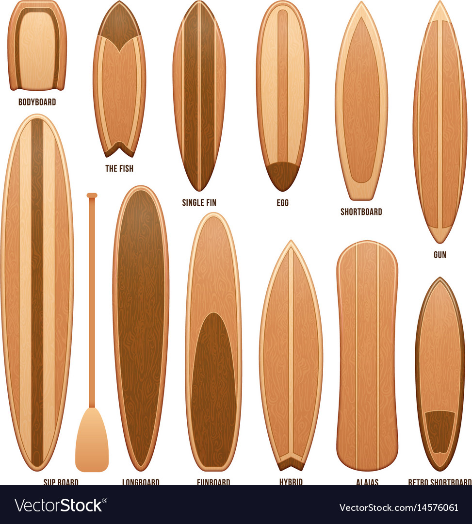Wooden Surfboards Isolated On White Royalty Free Vector